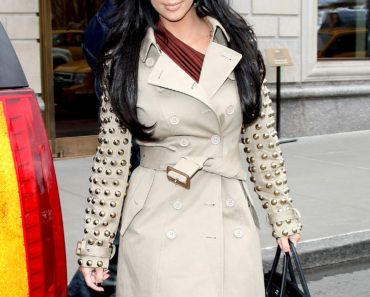 Kim Kardashian Wears A Studded Coat
