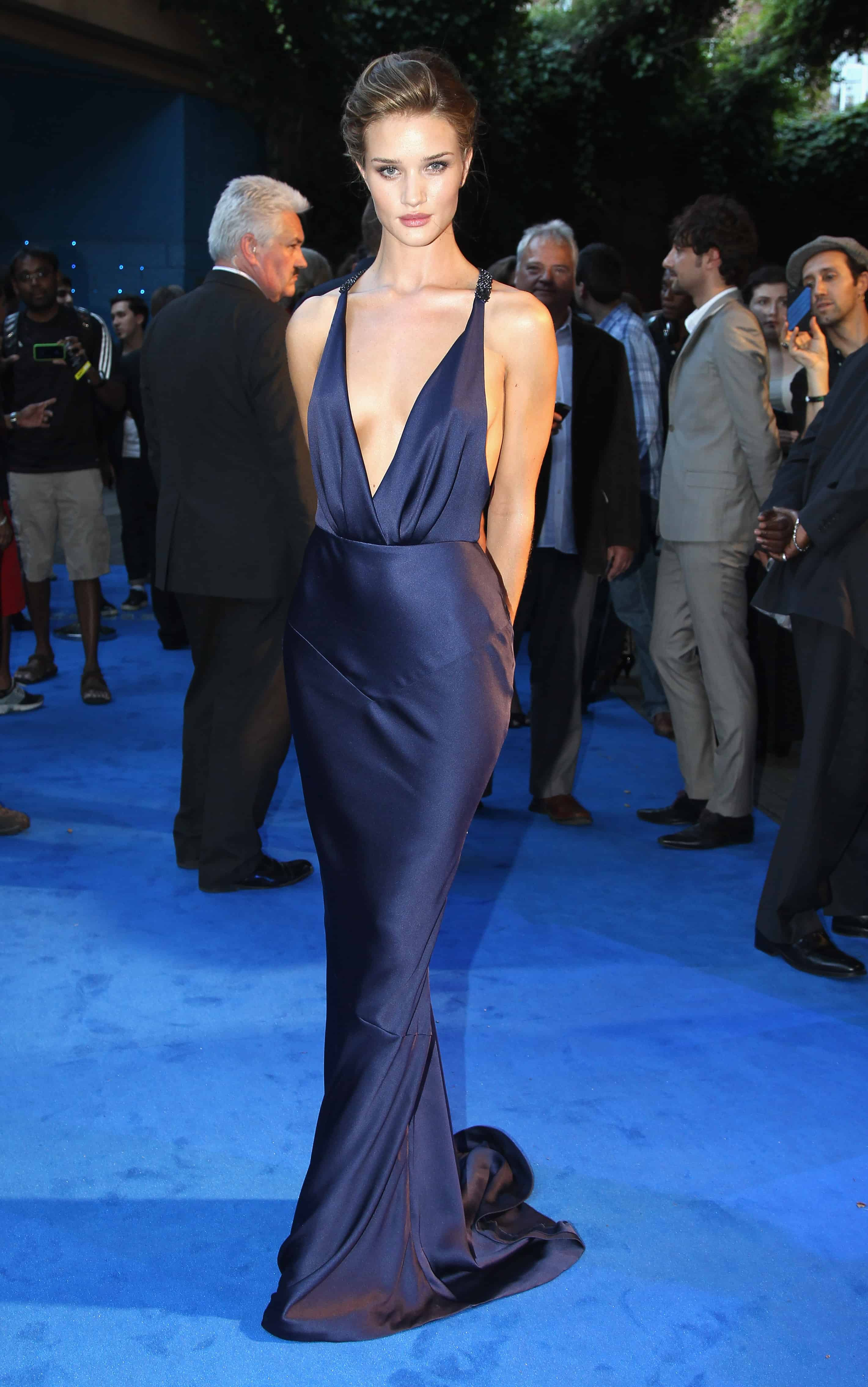 0063339fe2a ... breakout star…its Rosie Huntington-Whiteley. Look at her blue Burberry  gown…just gorgeous and back baring! Shia was not at this premiere…the cast  split ...
