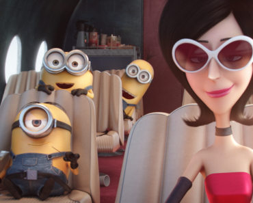 "(L to R) STUART, BOB and KEVIN hitch a ride with Scarlet Overkill (voiced by SANDRA BULLOCK), the first ever female super-villain, in ""Minions"", Universal Pictures and Illumination Entertainment's comedy adventure in which the Minions try to save all Minionkind…from annihilation."