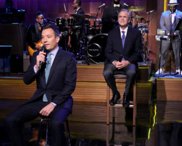 "THE TONIGHT SHOW STARRING JIMMY FALLON -- Episode 0281 -- Pictured: (l-r) Host Jimmy Fallon and Former Governor Jeb Bush ""Slow Jam the News"" on June 16, 2015 -- (Photo by: Douglas Gorenstein/NBC)"