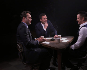 "THE TONIGHT SHOW STARRING JIMMY FALLON -- Episode 0283 -- Pictured: (l-r) Actor Vince Vaughn, host Jimmy Fallon and actor Colin Farrell play ""True Confessions"" on June 18, 2015 -- (Photo by: Douglas Gorenstein/NBC)"