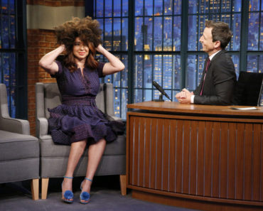 LATE NIGHT WITH SETH MEYERS -- Episode 224 -- Pictured: (l-r) Comedian Maya Rudolph during an interview with host Seth Meyers on June 22, 2015 -- (Photo by: Lloyd Bishop/NBC)