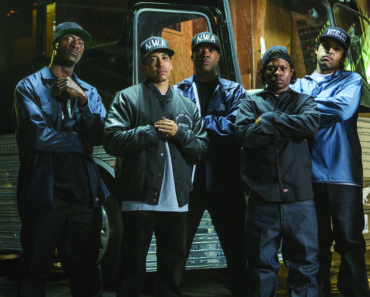 "(L to R) MC Ren (ALDIS HODGE), DJ Yella (NEIL BROWN, JR.), Dr. Dre (COREY HAWKINS), Eazy-E (JASON MITCHELL) and Ice Cube (O'SHEA JACKSON, JR.) in ""Straight Outta Compton"".  Taking us back to where it all began, the film tells the true story of how these cultural rebels—armed only with their lyrics, swagger, bravado and raw talent—stood up to the authorities that meant to keep them down and formed the world's most dangerous group, N.W.A."