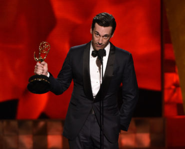 "67TH PRIMETIME EMMY® AWARDS: John Hamm accepts the Outstanding Lead Actor In A Drama Series Award for ""Mad Men"" at the 67TH PRIMETIME EMMY® AWARDS at the Microsoft Theatre L.A. Live in Los Angeles, CA, on Sunday, Sept. 20 on FOX.  CR: Michael Becker/FOX  © 2015 FOX BROADCASTING"