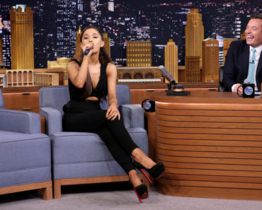 "THE TONIGHT SHOW STARRING JIMMY FALLON -- Episode 0329 -- Pictured: (l-r) Singer Ariana Grande and host Jimmy Fallon play ""Wheel of Musical Impressions"" on September 15, 2015 -- (Photo by: Douglas Gorenstein/NBC)"