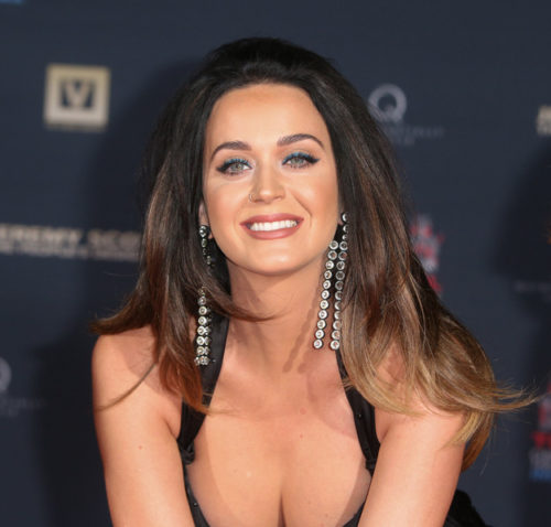 09/08/2015 - Katy Perry - Jeremy Scott and Katy Perry Handprint Ceremony at TCL Chinese IMAX Forecourt - TCL Chinese Theatre IMAX, 6925 Hollywood Boulevard - Hollywood, CA, USA - Keywords: horizontal, low-cut black dress, Long Wavy Brown Hair, Brunette, Singer, Songwriter, Musician, California, Film, Portrait, Photography, Film Industry, Arts Culture and Entertainment, Celebrities, Celebrity, Mann Theaters, Hand print, Fashion Designer Orientation: Portrait Face Count: 1 - False - Photo Credit: PRPhotos.com - Contact (1-866-551-7827) - Portrait Face Count: 1