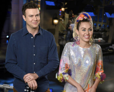 "SATURDAY NIGHT LIVE -- ""Miley Cyrus"" Episode 1684 -- Pictured: (l-r) Taran Killam and Miley Cyrus on September 29, 2015 -- (Photo by: Dana Edelson/NBC)"