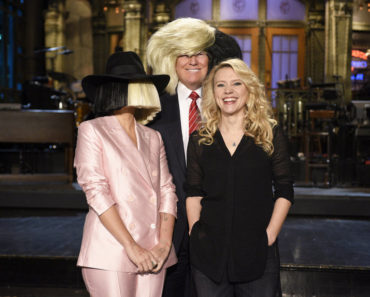 "SATURDAY NIGHT LIVE -- ""Donald Trump"" Episode 1687 -- Pictured: (l-r) Sia, Donald Trump, and Kate McKinnon on November 5, 2015 -- (Photo by: Dana Edelson/NBC)"