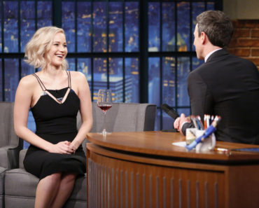 LATE NIGHT WITH SETH MEYERS -- Episode 302 -- Pictured: (l-r) Actress Jennifer Lawrence during an interview with host Seth Meyers on December 15, 2015 -- (Photo by: Lloyd Bishop/NBC)