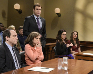 "SATURDAY NIGHT LIVE -- ""Ronda Rousey"" Episode 1694 -- Pictured: (l-r) Kate McKinnon, Taran Killam, Ronda Rousey, and Cecily Strong during the ""Teacher's Trial"" sketch on January 23, 2016 -- (Photo by: Dana Edelson/NBC)"
