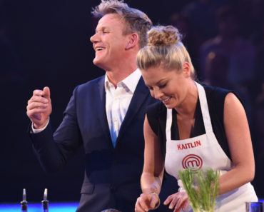 MASTERCHEF CELEBRITY SHOWDOWN: L-R: Gordon Ramsay and Kaitlin Doubleday in  MASTERCHEF CELEBRITY SHOWDOWN airing Monday, Jan. 18 (8:00-10:00 PM ET/PT) on FOX. CR: Michael Becker / FOX. © 2015 Fox Broadcasting Co.