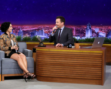 "THE TONIGHT SHOW STARRING JIMMY FALLON -- Episode 0421 -- Pictured: (l-r) Singer Demi Lovato and host Jimmy Fallon play ""Wheel of Musical Impressions"" on February 19, 2016 -- (Photo by: Andrew Lipovsky/NBC)"
