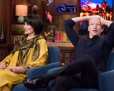 WATCH WHAT HAPPENS LIVE -- Episode 13079 -- Pictured: (l-r) Gloria Vanderbilt, Anderson Cooper -- (Photo by: Charles Sykes/Bravo)